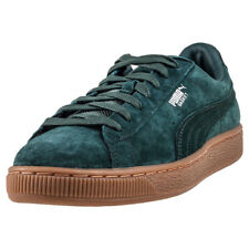 Puma Basket Classic Weatherproof Mens Green Suede Casual Trainers Lace-up