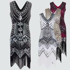 Women Sequin Tassel Dress V-neck Sleeveless Party Night Clubwear Dresses L2G4