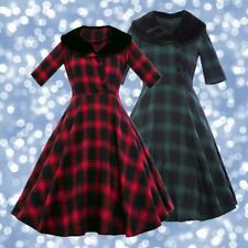 Vintage 1950s 50s Red or Navy Tartan Plaid Dress with Faux Fur Detail