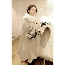 Women's Fashion Dust Coat Wool blend Cape Cloak winter Jacket Parkas fur Collar