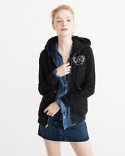 Abercrombie & Fitch Hoodie Women's Sherpa Lined Logo Track Jacket S Black NEW