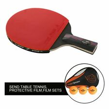 1 PC Rubber Carbon Fiber Table Tennis Racket Bat With Bag Ping Pong Paddle TR