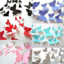 12Pcs 3D Butterfly Wall Sticker Room Removable Decal Decor Art Mural DIY FF