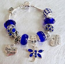 Girls PRETTY in Sapphire BLUE Sparkling Personalised Charm Bead Bracelet