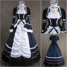 Victorian Goth Ruffles Gown Ball Lolita Party Dress Cosplay Costume Cotton Blend