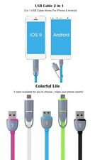 2 IN 1 SYNC DATA FAST CHARGING USB CABLE IPHONE - SAMSUNG - LG FROM USA 5 COLOR
