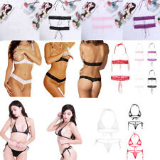 Sexy Womens Bikini Set Bra Micro G-string Lace Pearls Thong Underwear Lingerie