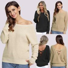 Women Long Sleeve Sweater Hollow Out Knitted Sweater Knitwear Cardigan Tops M5Q1