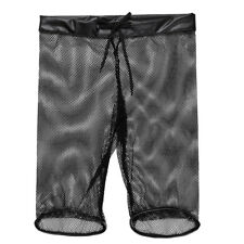 Mens See-through Fishnet Drawstring Lounge Underwear Boxer Shorts Underwear