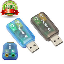 Audio Adapter 3D Sound card 5.1 USB To 3.5mm Mic headphone Jack Stereo Headset