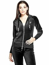 Guess Hoodie Women's Stretch Velour Track Jacket Zip Sweatshirt S Black NWT