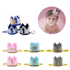 Baby Boy Girl Shiny Hat Crown First Birthday Party Hairband Headband Photo Prop
