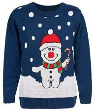 Unisex Kids Christmas Jumper Boys Girls Xmas Jumper Snowman With Candy Knitted