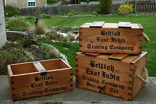 UK HAND MADE RUSTIC WOODEN STORAGE TRUG BOXES CRATES ( FREE PERSONALISATION )
