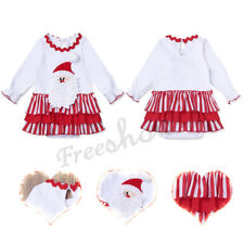 3D Santa Claus Newborn Baby Girls Long Sleeves Ruffled Romper Christmas Outfits