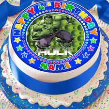 INCREDIBLE HULK BLUE PERSONALISED CAKE TOPPER PRECUT DECORATION EDIBLE BIRTHDAY