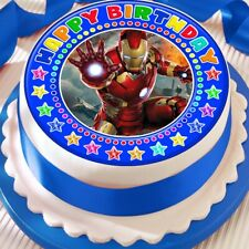 IRONMAN BLUE CAKE TOPPER PRECUT DECORATION EDIBLE HAPPY BIRTHDAY