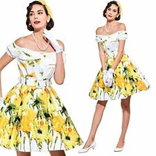 Vintage 1950s Yellow Floral Full Skirt Mini Dress 50s pinup unique