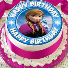 FROZEN ANNA FACE EDIBLE CAKE TOPPER DECORATION PRECUT HAPPY BIRTHDAY