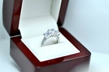 Real.925 in Silver 3 Stones Diamond engagement Rings Set
