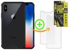 Apple iPhone X - Rugged and Clear Back Case + 2 Tempered Glass Screen Protectors