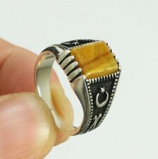 STERLING 925 SILVER HANDMADE MENS JEWELRY NATURAL TIGER'S EYE MEN'S RING
