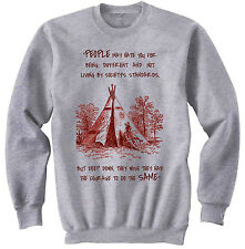 AMERICAN NATIVE INDIAN HATE YOU - NEW COTTON GREY SWEATSHIRT- ALL SIZES