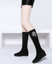 Girls Womens Micro Flat Platform Slip On  Mid-Calf Boots Shoes Rhinestone Casual