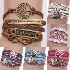 Leather Infinity Charm Bracelet Cute Leather Multilayer Infinity Love Heart LY