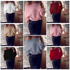 Women Long Sleeve Off Shoulder Knitted Baggy Sweater Casual Oversize Jumper Tops