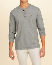Abercrombie & Fitch Hollister T-Shirt Men's Textured Terry Henley Tee S Grey NWT