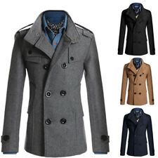 Male NEW Wool Trench Coat Winter Double Breasted Peacoat Long Sleeve Jacket