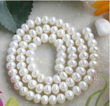 7-8mm Natural White Freshwater Cultured Pearl Gem Loose Beads 15 Inch PL481