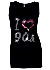 I Love 90s NINETIES hen festival Disco Night Crystal Ladies Vests all sizes 6-18