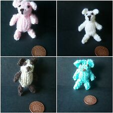 Hand knitted miniature 1/12th scale TEDDY BEAR - various