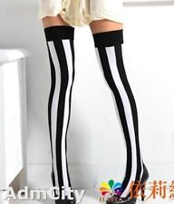 6 Pairs Of Slim Looking Opaque Vertical Stripes Thigh High Stockings Black/White