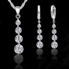 New .925 Sterling Silver Link Chain Crystal Pendant and Earring set