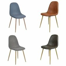 4x Leather Fabric Dining Chair Eames style More color Padded seat with Solid leg