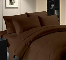 Egyptian Cotton Brown Solid Sheet Duvetset Fitted & King Queen Twin Full 1000 TC