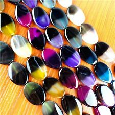 """15.5"""" Mixed Color Onyx Agate Freeform Loose Bead 30x20x6mm FTZ92"""