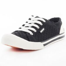 Rocket Dog Jazzin Womens Black Textile Casual Trainers Lace-up Genuine Shoes