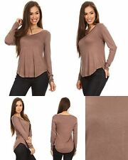 Ladies Womens Rayon Blend Solid V Neck Long Sleeve Knit Tee Top Mocha S M L