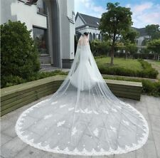 New Style Wedding Veil Cathedral Bridal Lace Edge White/Ivory Cith Comb  1T 3M