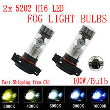 2x 100W 5202 H16 POWER CREE LED Fog Lights Bulbs 3000K 4300K 6000K 8000K 10000K