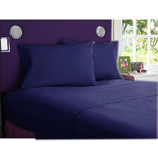 1000 THREAD COUNT NAVY BLUE SOLID EGYPTIAN COTTON UK BED SHEET SET/DUVET/FITTED