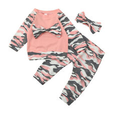 Newborn Infant Baby Girls Cute Camouflage Bowknot Tops+Pants Outfits Set Clothes