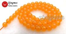 Round 6mm Orange Jade Gemstone Beads for Jewelry Making DIY Necklace Strands 15""