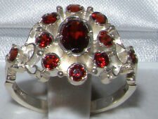 Unusual Solid 925 Sterling Silver Natural Garnet Ring with English Hallmarks