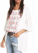 FREE PEOPLE NWT $78 WE THE FRE COSMIC TEE TOP OVERSIZED GRAPHIC TUNIC IVORY XS,M