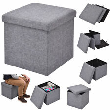 Folding Storage Ottoman Seat Stool Box Footrest Clothes Organizer Cube Fabric